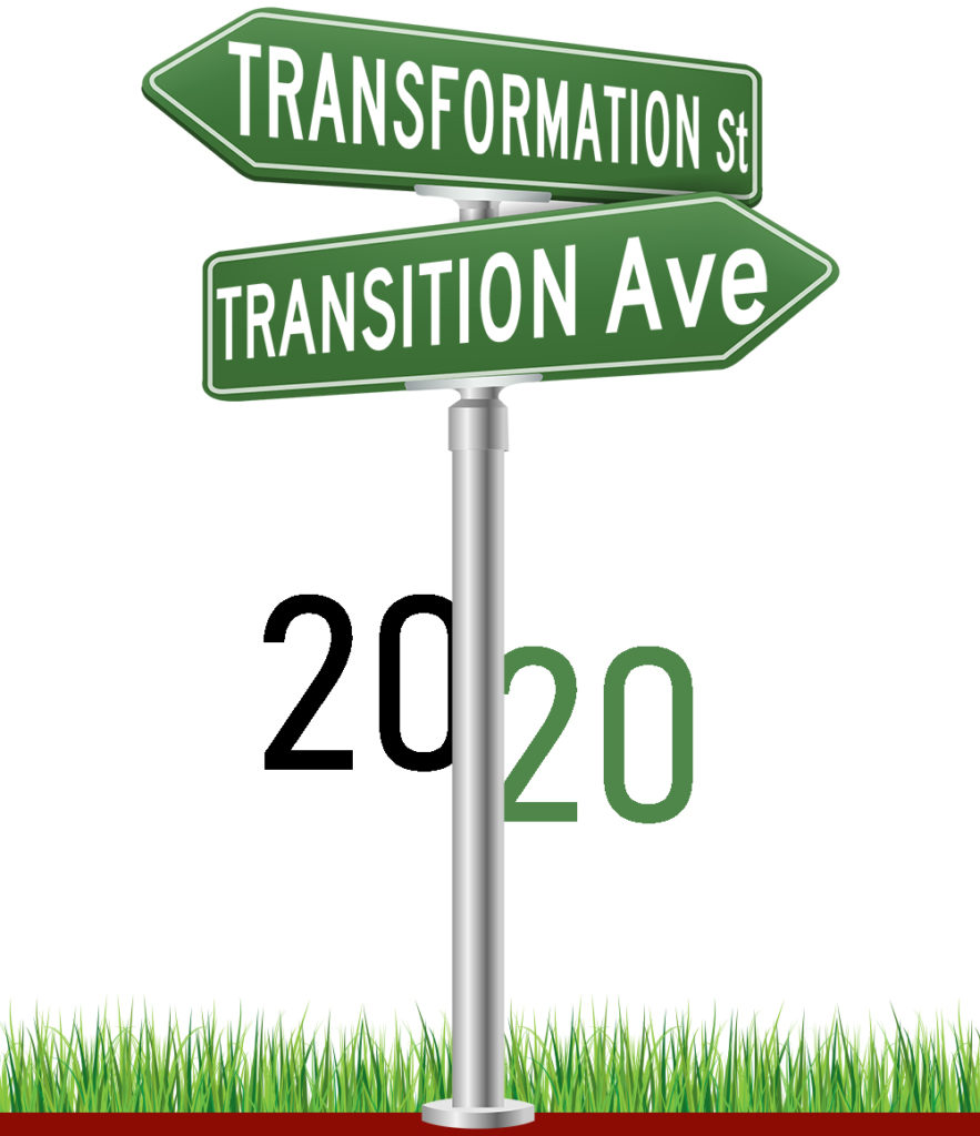 2020 Conference Logo - Cross Street Sign with Transformation Street and Transition Avenue